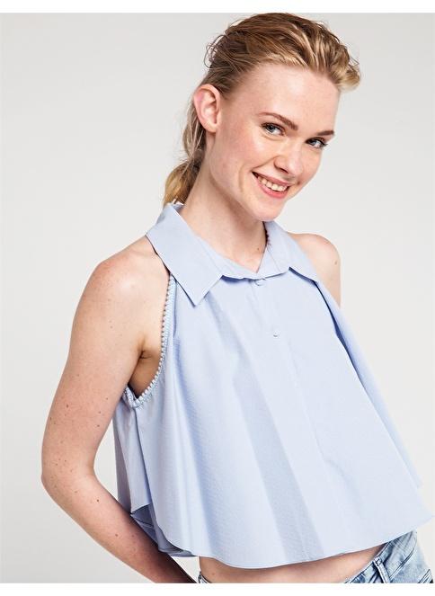 Love'n Fashion Paris Omuz Pencereli Volanlı Gömlek Mavi